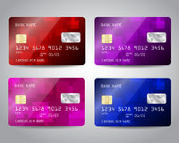 Realistic detailed credit cards set Stock Photo