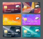 Realistic detailed credit cards set with colorful triangular design background. Vector illustration EPS10 Royalty Free Stock Photo
