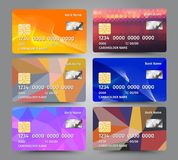 Realistic detailed credit cards set with colorful triangular design background. Vector illustration EPS10 Stock Photo