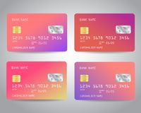 Realistic detailed credit cards set. With colorful abstract trendy color gradinet design background. Pink, purple, rose gold colors. Vector illustration EPS10 Stock Image
