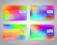 Realistic detailed credit cards set. With colorful abstract trendy color gradinet hologram effect design background. Pink, yellow, blue, red olors. Vector Stock Photo