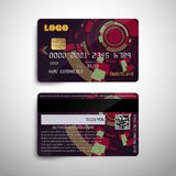 Realistic detailed credit debit card with abstract geometric detailed design.. Realistic detailed credit debit card with abstract geometric design isolated on Royalty Free Stock Photos