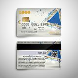 Realistic detailed credit debit card with abstract geometric detalied design. For use Vector illustration EPS10. Realistic detailed credit debit card with Stock Photography