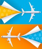 Realistic Detailed 3d Airplane Travel Concept Flyer Banners Posters Card Set. Vector. Realistic Detailed 3d Airplane Travel Concept Horizontal Flyer Banners Royalty Free Stock Photography