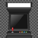 Realistic Detailed 3d Arcade Game Machine. Vector. Realistic Detailed 3d Arcade Game Machine with Joystick and Console Recreation Geek Concept on a Transparent royalty free illustration