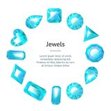 Realistic Detailed 3d Blue Jewels Banner Card Circle. Vector royalty free illustration