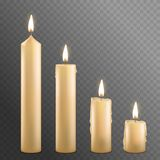 Realistic Detailed 3d Burning Wax Candles Set. Vector. Realistic Detailed 3d Burning Wax Candles Set on a Transparent Background Candlelight Romantic Symbol Stock Photo
