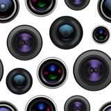 Realistic Detailed 3d Camera Lens Seamless Pattern Background. Vector. Realistic Detailed 3d Camera Lens Seamless Pattern Background on a White Closeup View Stock Photography