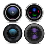 Realistic Detailed 3d Camera Lens Set. Vector. Realistic Detailed 3d Camera Lens Set Closeup View Professional Technology Photography Optical Equipment . Vector Royalty Free Stock Photo