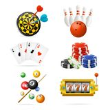 Realistic Detailed 3d Casino Sport and Leisure Games Icon Set. Vector. Realistic Detailed 3d Casino Sport and Leisure Games Icon Set Include of Poker Cards Vector Illustration