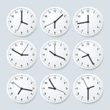 Realistic Detailed 3d Clock Set with Different Time. Vector stock illustration