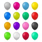 Realistic Detailed 3d Color Balloons Set. Vector. Realistic Detailed 3d Color Balloons Set Symbol of Holiday, Party, Birthday and Celebration . Vector Royalty Free Stock Photography