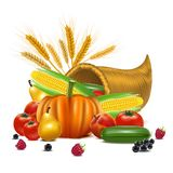 Realistic Detailed 3d Cornucopia or Horn of Plenty. Vector stock illustration