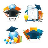 Realistic Detailed 3d Education Set. Vector. Realistic Detailed 3d Education Set Include of Book, Globe, Pencil, Tutorial, Pen, Glass, Magnifier and Calculator Royalty Free Stock Photo