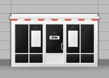 Realistic Detailed 3d Exterior of Restaurant, Cafe or Shop Doors. Vector Stock Photo