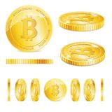 Realistic Detailed 3d Golden Bitcoins Set. Vector Royalty Free Stock Image