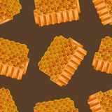 Realistic Detailed 3d Honey Combs Seamless Pattern Background. Vector. Realistic Detailed 3d Honeycombs Seamless Pattern Background with Honey Puddle Natural Royalty Free Stock Photos