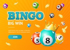 Realistic Detailed 3d Lotto Concept Bingo Big Win Card Background. Vector. Realistic Detailed 3d Lotto Concept Bingo Big Win Card Background on a Orange. Vector Royalty Free Stock Photo