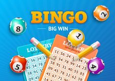 Realistic Detailed 3d Lotto Concept Bingo Big Win Card Background. Vector. Realistic Detailed 3d Lotto Concept Bingo Big Win Card Background on a Blue. Vector Royalty Free Stock Images