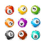 Realistic Detailed 3d Lotto Set. Vector. Realistic Detailed 3d Lotto Ball Set Symbol of Chance and Luck. Vector illustration of Glossy Round Lottery Balls Royalty Free Stock Photos