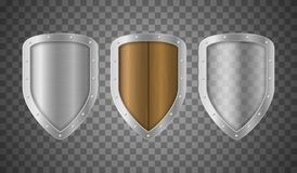 Realistic Detailed 3d Metallic Wooden and Transparent Shields Set. Vector stock illustration