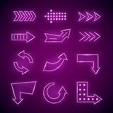 Realistic Detailed 3d Neon Arrow Set. Vector. Realistic Detailed 3d Neon Arrow Set Bright Glowing Signs or Signboard Electric Decoration for Night Bar, Casino Stock Image