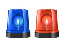 Realistic Detailed 3d Police Beacon. Vector. Realistic Detailed 3d Police Lights Beacon Flashing Red and Blue Set Isolated on White Background. Vector Royalty Free Stock Image