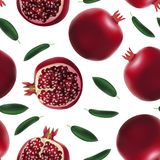 Realistic Detailed 3d Whole Pomegranate with Half Seamless Pattern Background Vector. Realistic Detailed 3d Red Fresh Whole Pomegranate with Seeds and Half Royalty Free Stock Photo