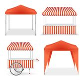 Realistic Detailed 3d Red and Striped Blank Market Stall Template Mockup Set. Vector. Realistic Detailed 3d Red and Striped Blank Market Stall Empty Template royalty free illustration