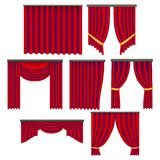 Realistic Detailed 3d Red Window Curtains Set. Vector. Realistic Detailed 3d Red Window Curtains Set Decoration Element Drapery Luxury of Window. Vector Stock Photo