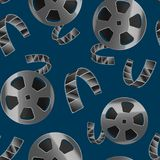 Realistic Detailed 3d Reel of Film Tape Seamless Pattern Background. Vector. Realistic Detailed 3d Reel of Film Tape Movie Cinema Seamless Pattern Background Royalty Free Stock Photos