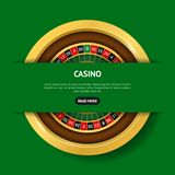 Realistic Detailed 3d Round Casino Roulette Banner Card. Vector stock illustration