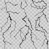 Realistic Detailed 3d Wall Cracks Set. Vector. Realistic Detailed 3d Wall Cracks Set Various Types Decorative Element on a Transparent Background. Vector Stock Photography
