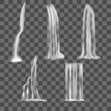 Realistic Detailed 3d Waterfall Elements Set. Vector Royalty Free Stock Image