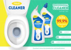 Realistic Detailed 3d White Ceramic Toilet Bowl and Bottles with Cleaner Ads. Vector. Realistic Detailed 3d White Ceramic Toilet Bowl and Bottles with Cleaner Royalty Free Stock Photography