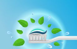 Realistic Detailed 3d Whitening Toothpaste and Toothbrush Card. Vector royalty free illustration