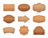 Realistic Detailed 3d Wooden Boards Set. Vector. Realistic Detailed 3d Wooden Boards Set Closeup View Empty Panel or Signpost Different Types. Vector Royalty Free Stock Image