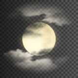 Realistic detailed full moon with clouds  on transparent background.  Royalty Free Stock Image