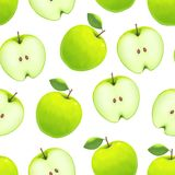 Realistic Green Apple Background Pattern on a White. Vector. Realistic Detailed Green Apple Background Pattern on a White Fresh Healthy Organic Fruit Raw Royalty Free Stock Photography