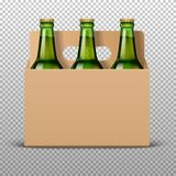 Realistic detailed green glass beer bottles with drink in craft packaging isolated on a trasparent background. Vector Royalty Free Stock Image