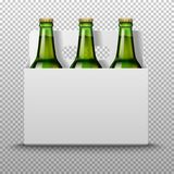 Realistic detailed green glass beer bottles with drink in white packaging  on a trasparent background. Vector. Realistic detailed green glass beer bottles with Stock Photos