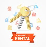 Realistic Detailed Keys to House Property Rental Concept. Vector Stock Photography
