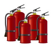 Realistic Detailed Red Extinguisher or Quencher Set. Vector Stock Photo