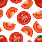 Realistic Detailed Red Tomato and Segment Parts Background Pattern. Vector Royalty Free Stock Image