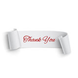 Realistic detailed thank you curved paper banner Royalty Free Stock Image