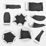 Realistic Detailed Torn Holes Paper on a Background Set. Vector Stock Photos