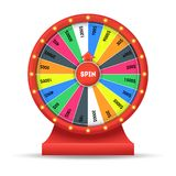 Realistic Detailed Wheel Luck Fortune. Vector. Realistic Detailed 3d Wheel Luck Fortune Spinning Lucky Roulette Gambling Game in Casino. Vector illustration of stock illustration