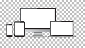 Realistic device flat Icons: smartphone, tablet, laptop and desk. Top computer. Vector illustration Royalty Free Stock Image