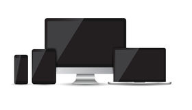 Realistic device flat Icons: smartphone, tablet, laptop and desk. Top computer. Vector illustration Royalty Free Stock Images
