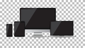 Realistic device flat Icons: smartphone, tablet, laptop and desk. Top computer. Vector illustration Stock Photography